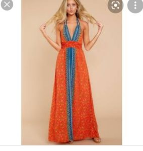 💕NWT💕 Orange Blue Floral Halter Maxi Dress